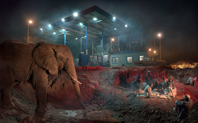 , 'Petrol Station with Elephant & Kids,' 2018, Fahey/Klein Gallery