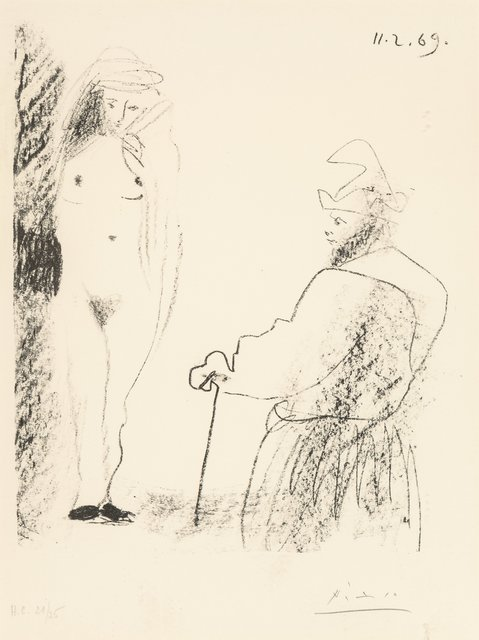Pablo Picasso, 'Femme Nue et Homme à la Canne, from Picasso-dessins 27.3.66 to 15.3.68', 1969, Print, Lithograph on wove paper, Heritage Auctions