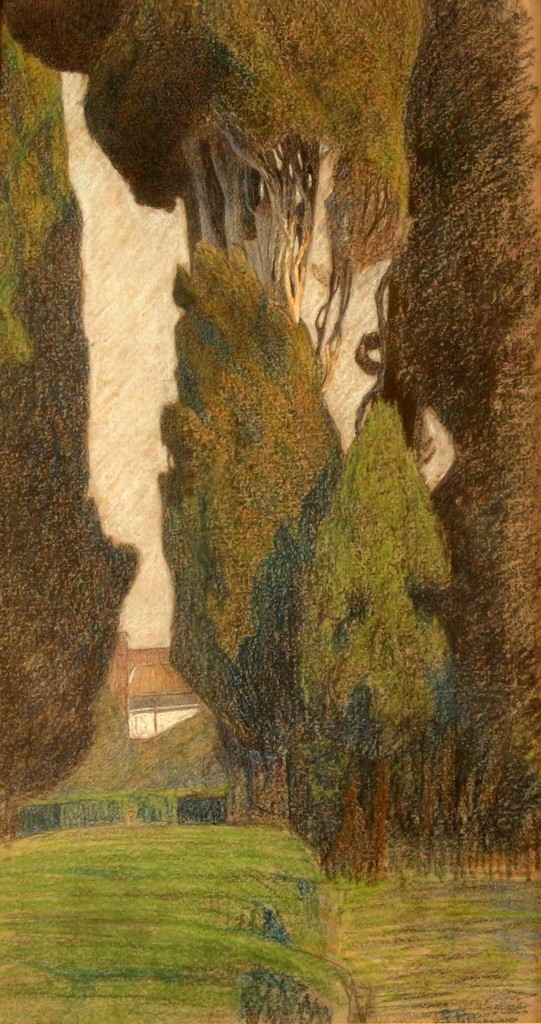 Giuseppe Pelizza da Volpedo 'Landscape', mixed media, 26x50, signed