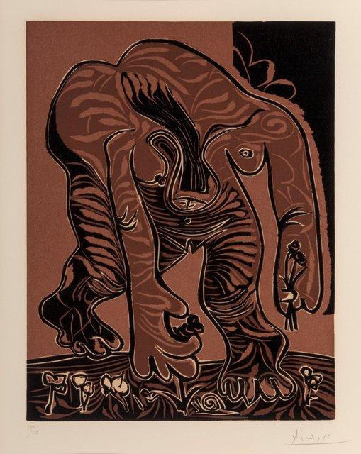 Pablo Picasso, 'Femme nue cueillant des fleurs', 1962, Print, Linocut in colors on Arches paper, final state, Heritage Auctions