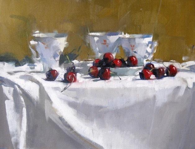 , 'Cherries & Three Cups,' 2018, J. Cacciola Gallery