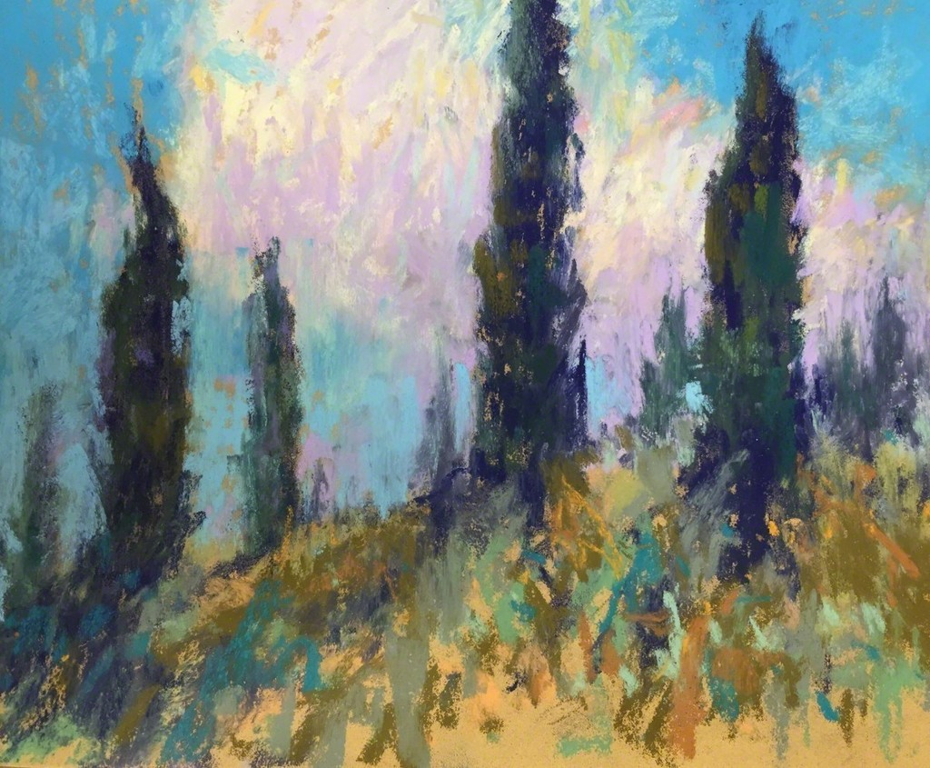 """""""Standing Gaurd,"""" Pastel on paper, 8 x 10.  """"The cypress trees always draw me to them. They stand guard on the hills overlooking the fields and villas in the valleys."""" -Linda Richichi"""