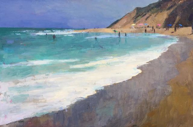 ", '""The Surf"" Painterly Landscape, Blue and Turquoise Ocean, Brown Sienna Beach,' 2010-2018, Eisenhauer Gallery"
