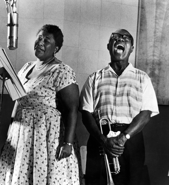 ", 'Ella Fitzgerald and Louis Armstrong recording the album ""Ella and Louis"",' 1956, Staley-Wise Gallery"