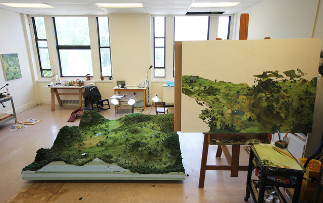 ", 'Artist's Studio View, model as landscape with underpainting for ""Weed Trees."",' , Richard Heller Gallery"