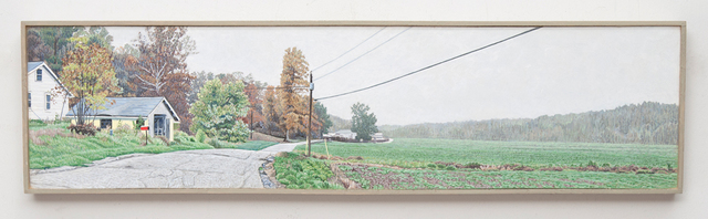 , 'A White House, Yellow Garage, and a Misty Morning Pasture, Indiana, US Highway 50,' 2016, Valley House Gallery & Sculpture Garden
