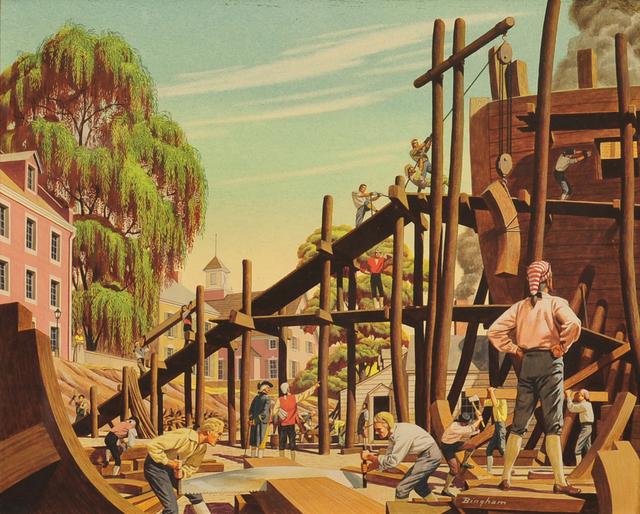 James R. Bingham, 'Shipbuilding in Philadelphia', 20th Century, The Illustrated Gallery