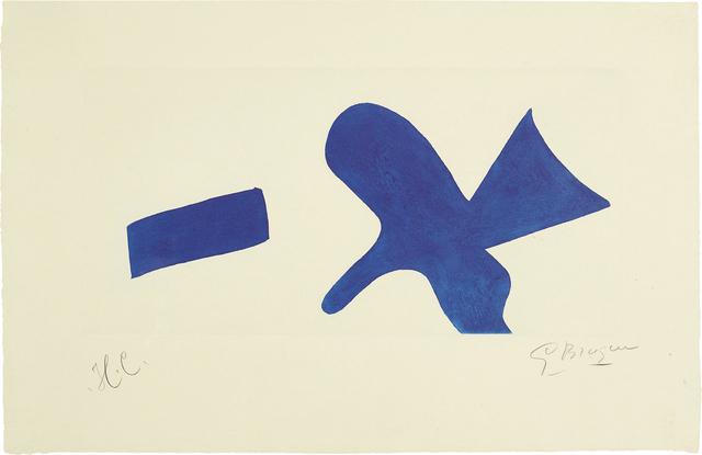 Georges Braque, 'L'oiseau bleu (Invitation exposition Louis Broder pour le livre de Braque) (The Blue Bird - invitiation exhibition Louis Broder for Braque book)', circa 1960, Print, Aquatint in blue, on pale green laid paper, with full margins, Phillips