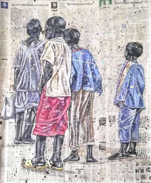 Andrew Ntshabele, 'Signs in the sky V', 2020, Mixed Media, Acrylic on newspaper (pasted on canvas), ARTsouthAFRICA