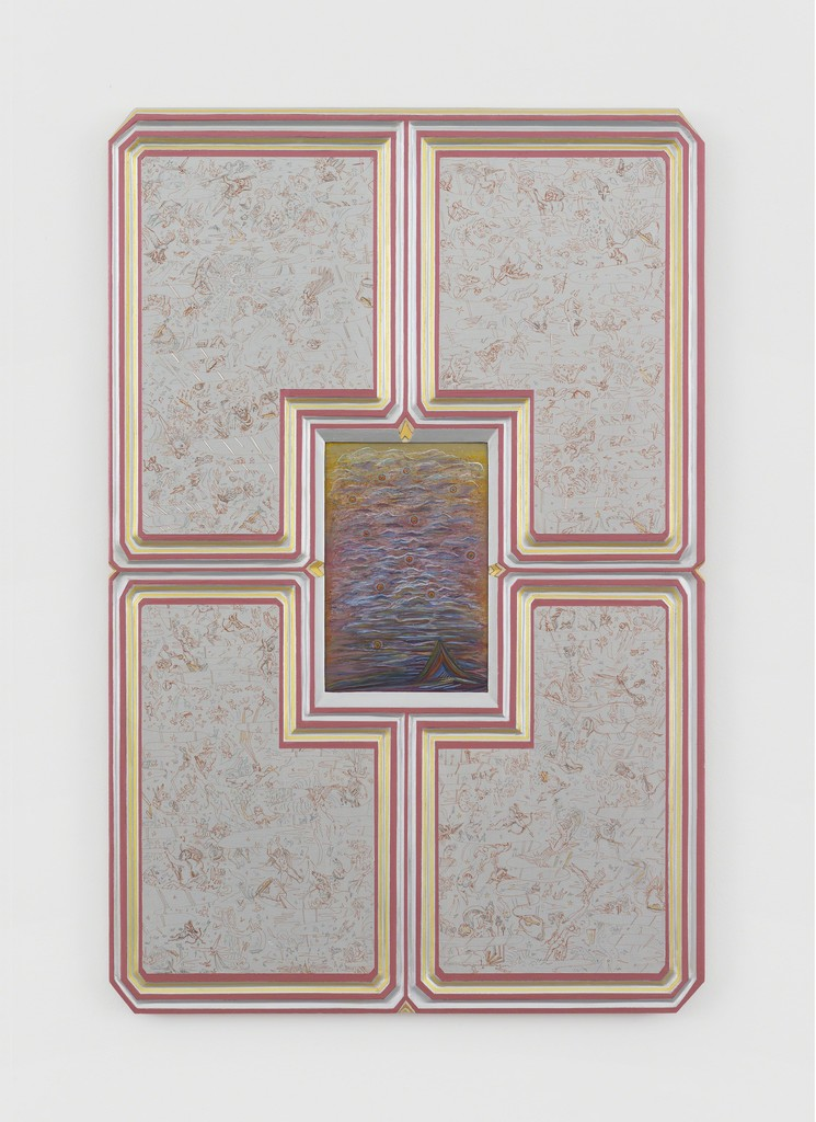 """""""Silver Sky"""", 2014-2017  Carved wood, water-based paint, ink. 91.4 × 61 cm / 36 × 24 in   Photo: Claire Dorn / Courtesy the Artist & Perrotin"""