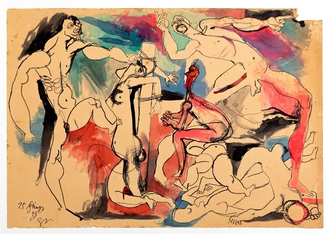 Renato Guttuso, 'Study for Crucifixion', 1943, Mixed Media, Mixed media on paper applied on card, Finarte