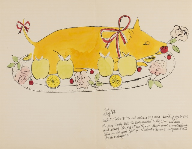 Andy Warhol, 'Piglet (from Wild Raspberries) (see Feldman & Schellmann IV.134.A)', 1959, Print, Offset lithograph extensively heightened with watercolour, on laid paper, Forum Auctions