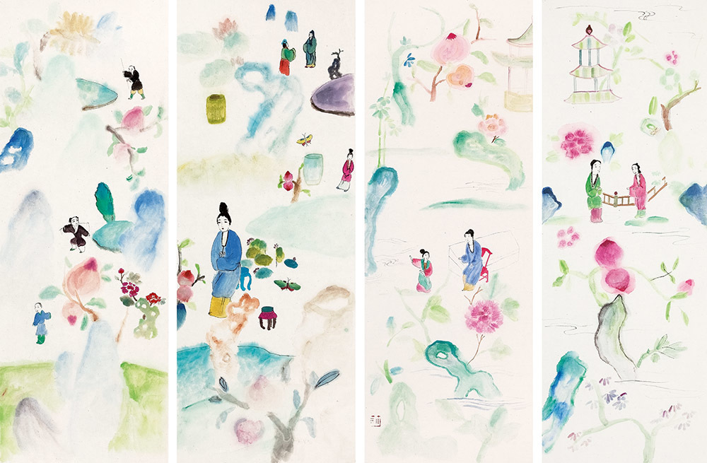 Spring Outing-4 panels  游春-四屏