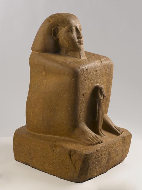 , 'Block Statue of Senwosret-senebefny,' ca. 1836, Brooklyn Museum