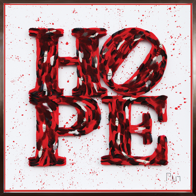 "Plum, '""Hope – Red Splash, Tribute to Robert Indiana""', 2019, Art Supermarket"