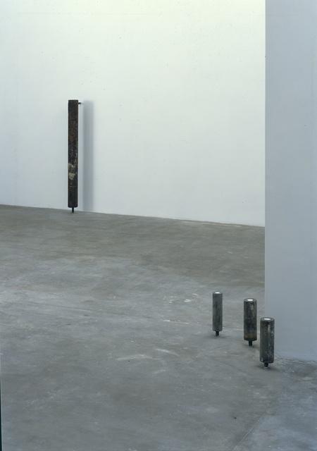 , '2 x (ø 7,5 x 26,5), ø 6 x 26,5 , Back 10,2 x 116 x 21 cm,' 1991, Galerie Isabella Czarnowska