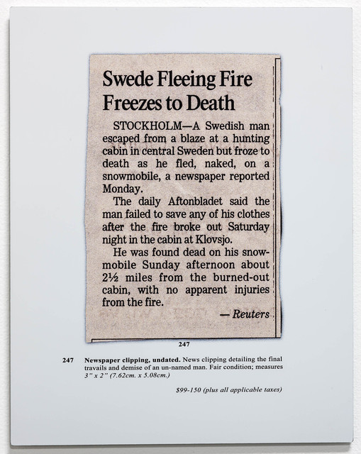 , 'Auction Page (Clipping),' 2013, Rosamund Felsen Gallery