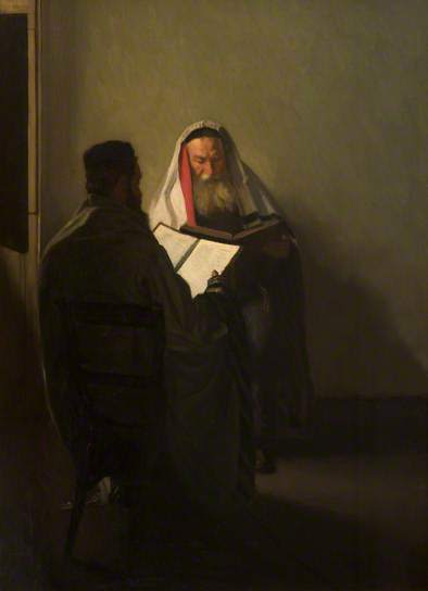 William Rothenstein, 'Corner of the Talmudic School', 1904, Painting, Oil on canvas, Ben Uri Gallery and Museum