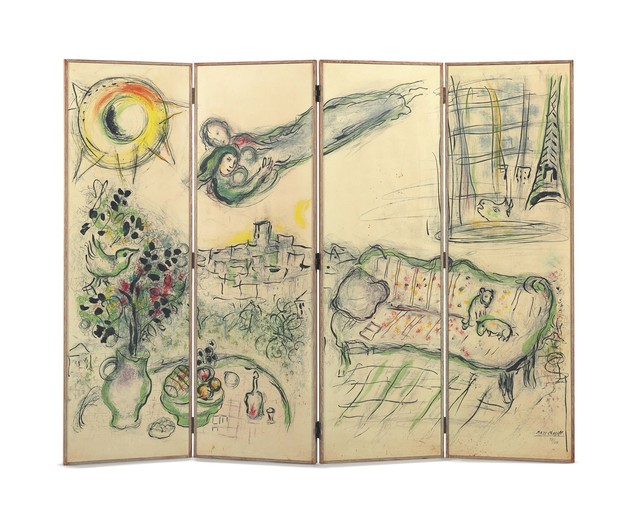 Marc Chagall, 'Paravent', 1963, Print, Lithograph in colors on four sheets of wove paper mounted to waxed oak folding screen (as issued), Christie's