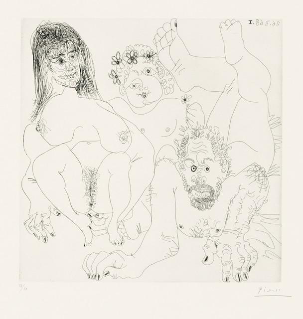 Pablo Picasso, 'Couple aux champ, avec un putto couronné de fleurs, from: Series 347', 1968, Print, Etching on BFK Rives wove paper, Christie's