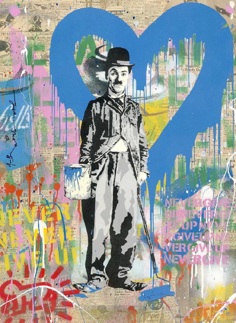 Mr. Brainwash, 'Chaplin', 2020, Painting, Stencil and Mixed Media on Paper, Maddox Gallery