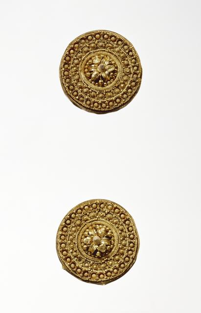 'Pair of Disk Earrings',  late 6th century B.C., J. Paul Getty Museum