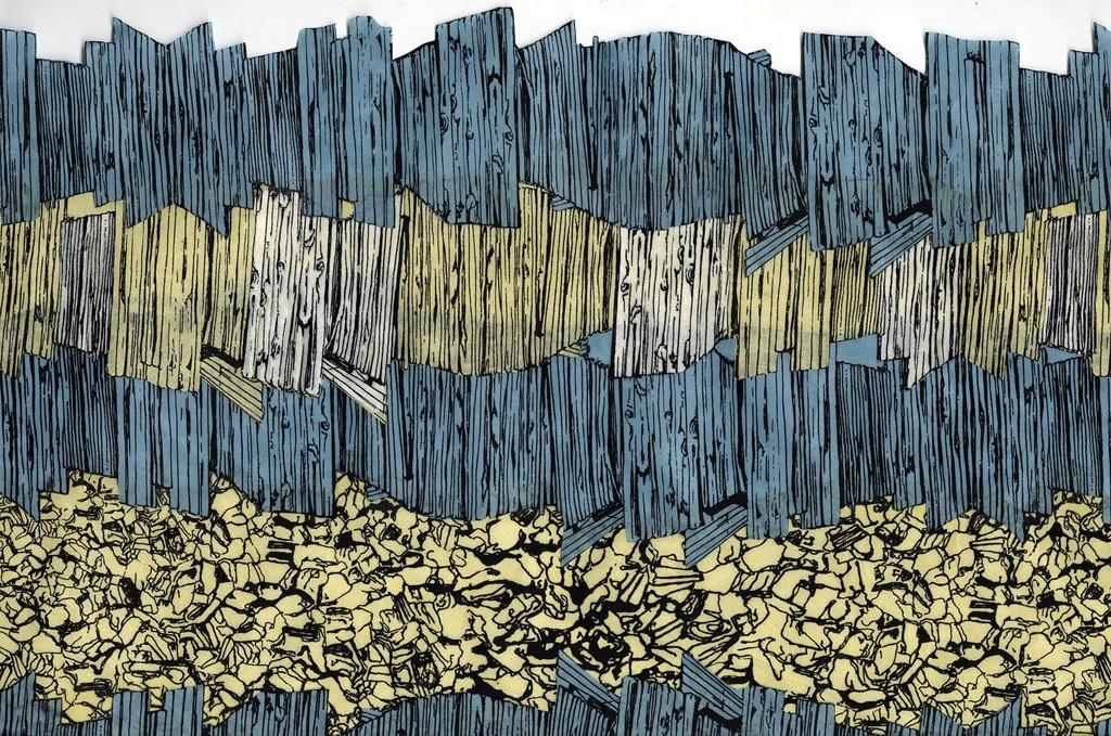"Jessica Meuninck-Ganger. ""Timbers and Stone"", 2018. Assembled screenprints on Hanji with handmade natural dye. 15 x 17 1/2 inches."