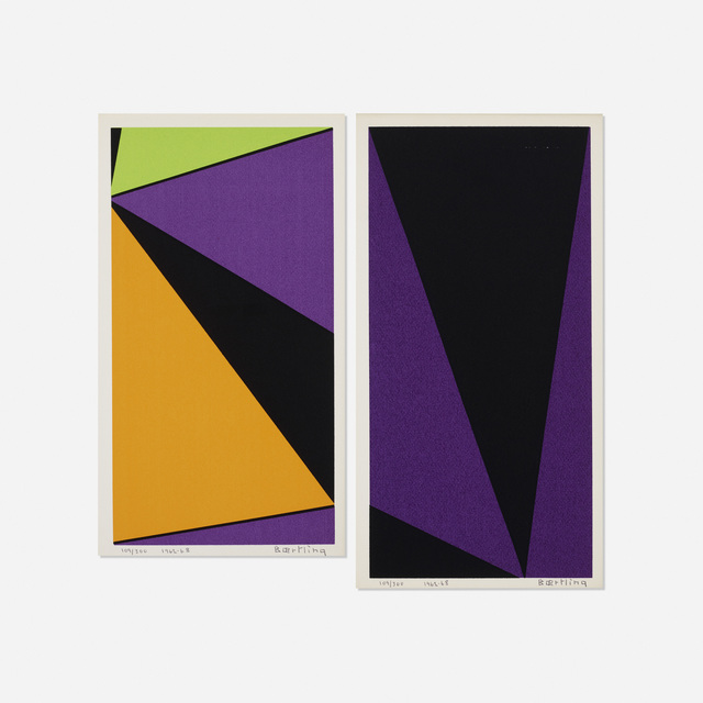 Olle Baertling, 'Untitled (two works from The Angles of Baertling - Open Form, Infinite Space portfolio)', 1962-68, Print, Screenprint on paper, Rago/Wright