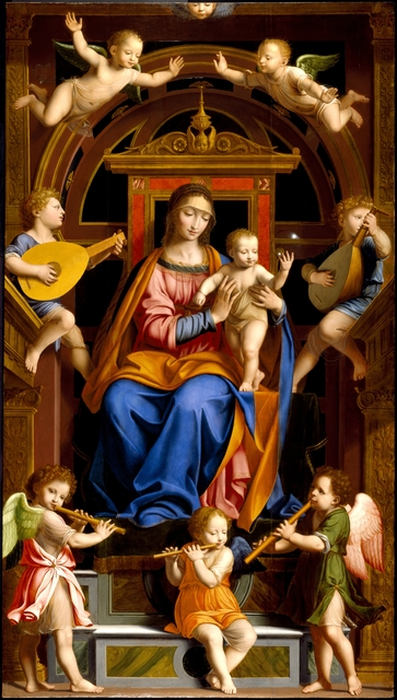 , 'Madonna and Child Enthroned with Angels,' mid-16th century, Brooklyn Museum