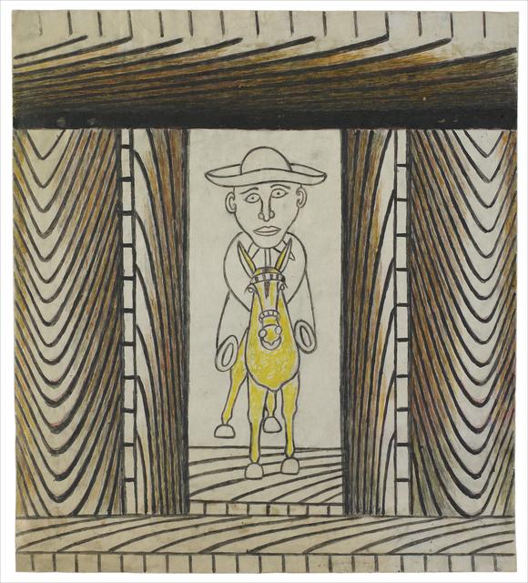 Martín Ramírez, 'Untitled (Man Riding Yellow Donkey)', C. 1960-63, Robert Berman Gallery