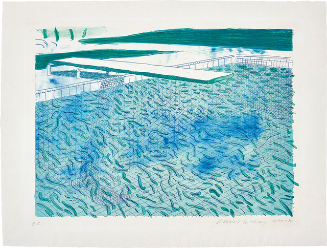 David Hockney, 'Lithograph of Water Made of Lines, a Green Wash, and a Light Blue Wash', 1978-80, Phillips