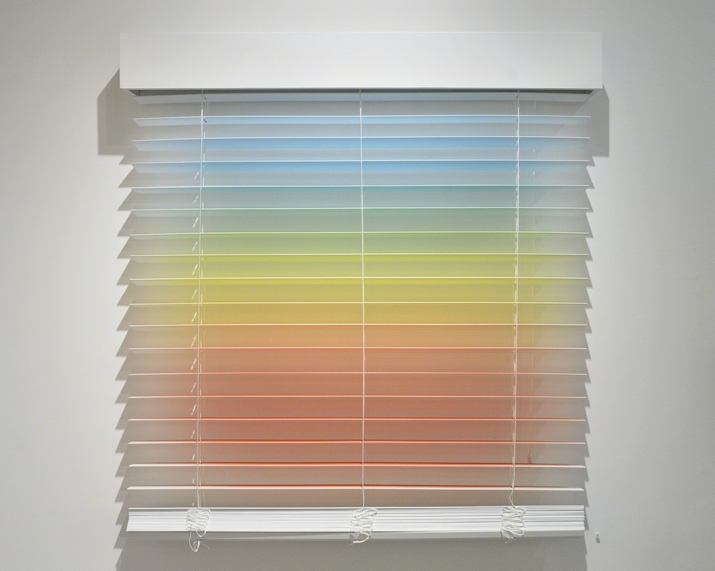 "Christopher Derek Bruno: ""Parallel Study 1,"" acrylic on vinyl blinds"