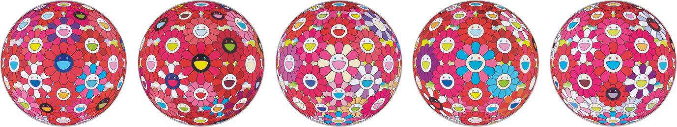 Takashi Murakami, 'Flower Ball (3D)-Turn Red!; Hey! You! Do You Feel What I Feel?; Flower Ball (3D) - Blue, Red; Letter to Picasso; Groping for the Truth,' 2013-2014, Phillips: Evening and Day Editions (October 2016)