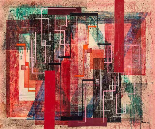 Irene Rice Pereira, 'Progression of Reds', circa 1946, Painting, Oil on canvas, Doyle