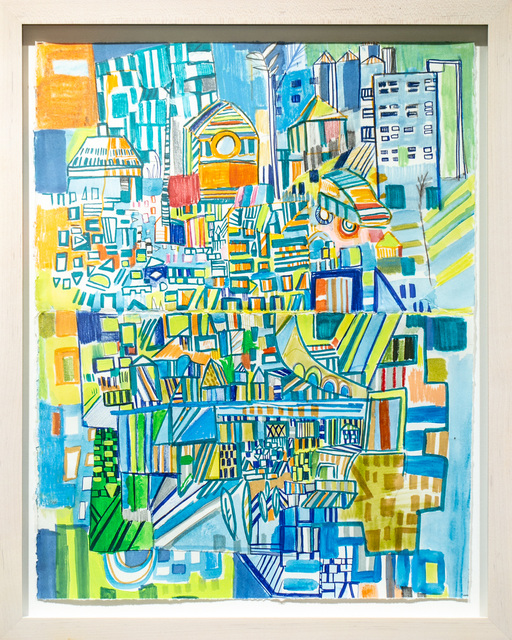 Miriam Singer, 'Green and Blue', 2019, Drawing, Collage or other Work on Paper, Pencil, marker, acrylic on paper, Paradigm Gallery + Studio