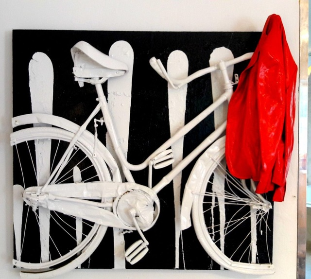 , 'Bike black and white with red jaquet,' 2017, Galleria Ca' d'Oro