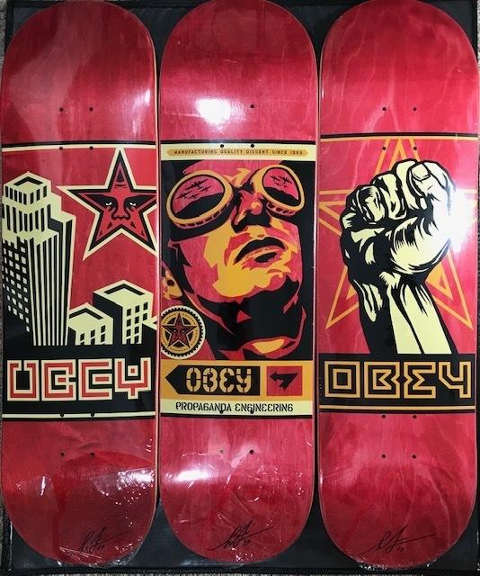"Shepard Fairey, '30th Anniversary Skateboard Decks ""Set of 3"" ', 2019, New Union Gallery"