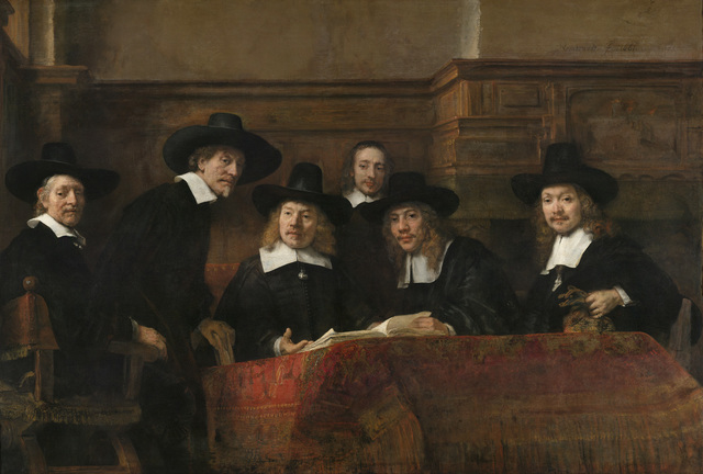 , 'The Sampling Officials of the Amsterdam Drapers' Guild, known as 'The Syndics',' about 1662, The National Gallery, London