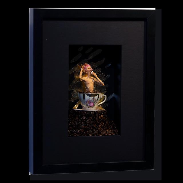 Kunst met een R, 'Coffee Bathing II', 2020, Drawing, Collage or other Work on Paper, 3D Shadow Box, Eden Fine Art