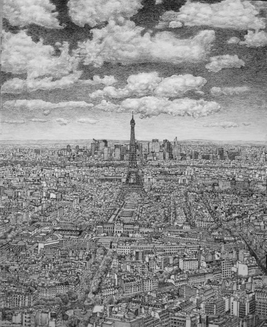 , 'Paris from Montparnasse towards La Defence,' , Rebecca Hossack Art Gallery