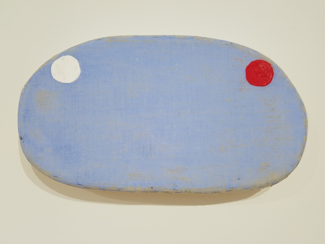 , 'Blue with White and Red Cirlces,' 2018, Marc Straus