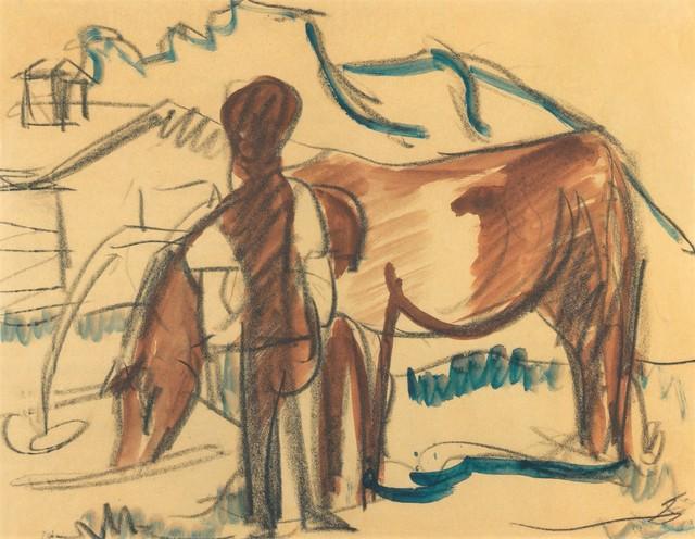 , 'Bauer und trinkende Kuh,' 1924, Henze & Ketterer