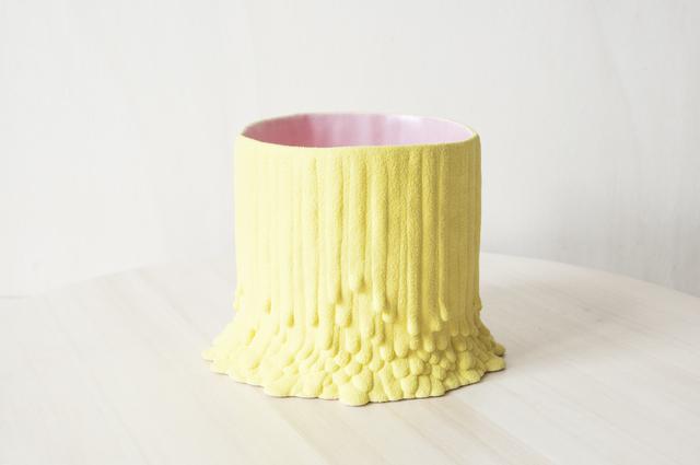 Cécile Bichon, 'Cache-pot souche basaltique jaune sablé au cœur rose ', 2019, Rademakers Gallery