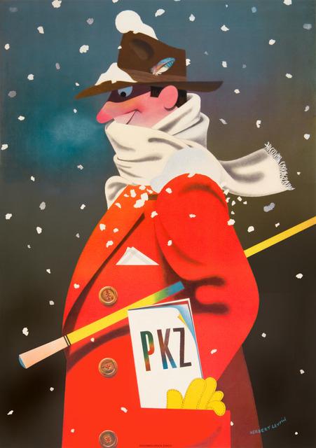 Herbert Leupin, 'PKZ Menswear - Red Overcoat - Snow', 1942, Omnibus Gallery