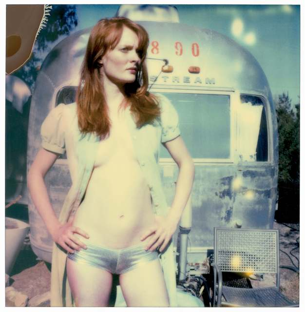 Stefanie Schneider, 'Daisy in front of Trailer (Till Death do Us Part ) 30x30cm, including Soundtrack LP by Daisy McCRackin', 2005, Photography, Analog C-Print, hand-printed by the artist on Fuji Crystal Archive Paper, based on a Polaroid, not mounted, Instantdreams