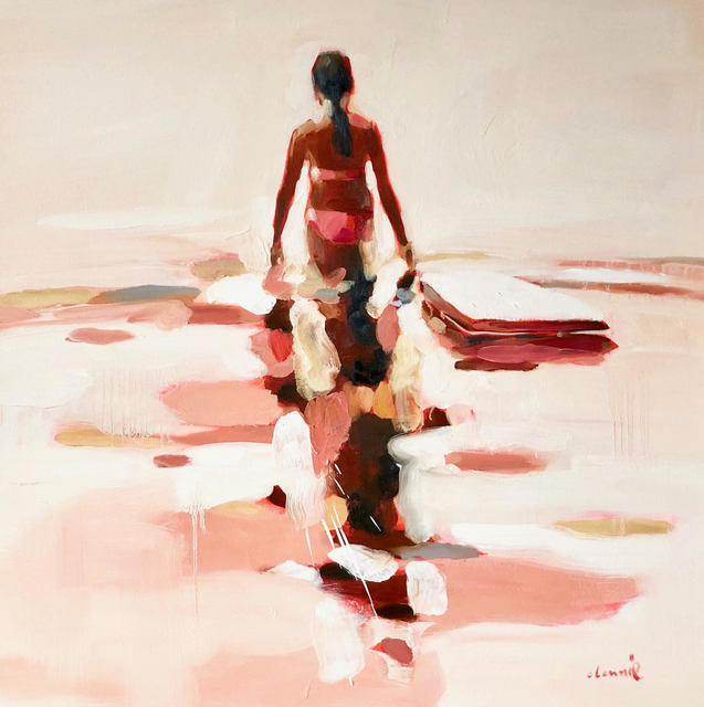 """Elizabeth Lennie, '""""Independence""""abstract oil painting of a figure wading in the water', 2018, Eisenhauer Gallery"""