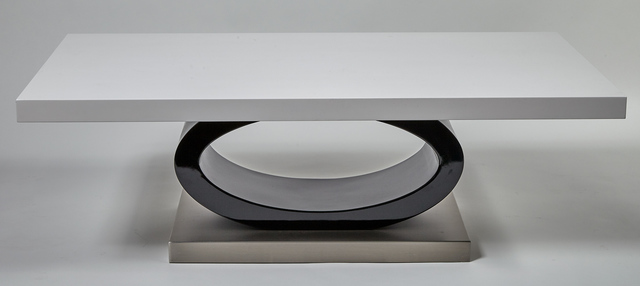 'Black and White Lacquered Wood Low Table, Modern', Doyle