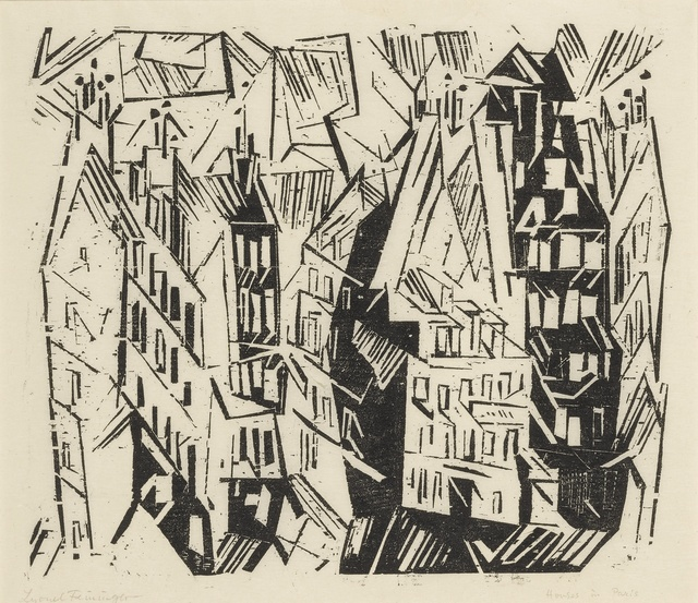 Lyonel Feininger, 'Pariser Häuser (Houses in Paris); and four woodcuts (Prasse W 18, W 59, W 76, W 128, W 135)', 1918, Sotheby's