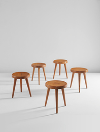 Set of five tripod stools