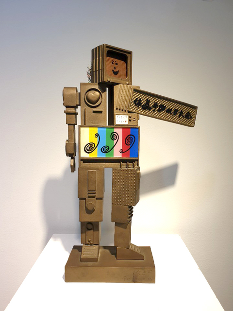 Nam June Paik, 'Metrobot', 1988, Sculpture, Bronze, screen, electrical wire, colored glass and grain, Art Works Paris Seoul Gallery